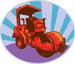 Road roller construction equipment Stock Illustration