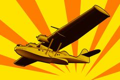 catalina flying boat sea plane retro - stock illustration