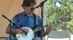 Older Banjo Player Stock Footage
