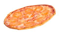 pizza with tomatoes - stock photo