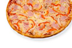 pizza with bacon - stock photo