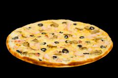 Pizza with ham, mushrooms and olives Stock Photos