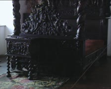 DRACULA CASTLE bed with canopy tilt Stock Footage