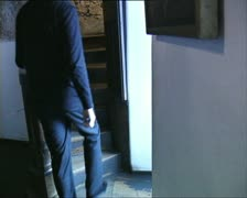 DRACULA CASTLE man entering secret passage Stock Footage