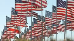 HUNDREDS OF AMERICAN FLAGS IN SLO-MO 3 - stock footage