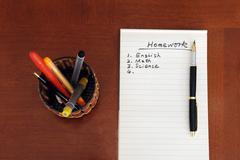 Stock Photo of homework list