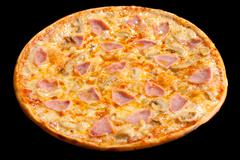 Pizza with ham and mushrooms, isolated Stock Photos