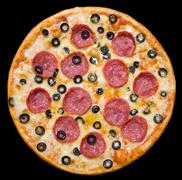 pizza with peperoni and olives, clipping path - stock photo