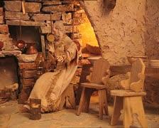 CHRISTMAS CRIB det farmhouse interior with santons pan Stock Footage