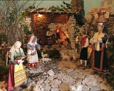 CHRISTMAS CRIB det nativity scene hut with santons zoom in Stock Footage