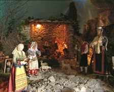 CHRISTMAS CRIB with santons MS det nativity scene Stock Footage