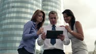 Business success - happy executives with tablet computer Stock Footage