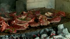 Grilling mutton meat on the coals Stock Footage