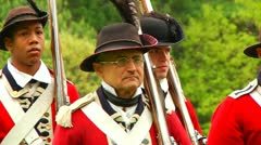 Pan of Redcoat Army Stock Footage