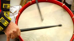 Redcoat Beating Drum Closeup Stock Footage