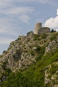 Drnis fortress on the cliff - stock photo