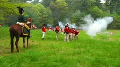Redcoats Firing on Advancing Americans - stock footage