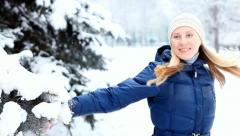 Happiness girl  walks in winter wood Stock Footage