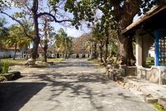 Courtyard of the prison and museum of Vietnamese war, Con Dao island in Vietnam. - stock photo