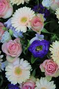 Pink, white and blue floral arrangement Stock Photos