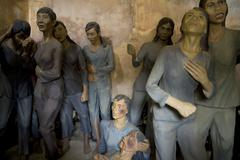 Wax figures in the Vietnamese war prison and museum, Con Dao island in Vietnam. Stock Photos
