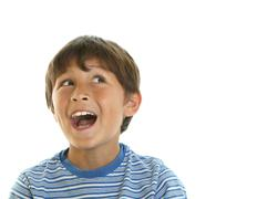 portrait of young happy boy - stock photo