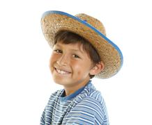 young happy boy in cowboy hat - stock photo