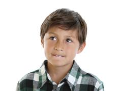 handsome young boy in plaid shirt - stock photo