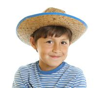young boy in toy cowboy hat - stock photo