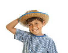 young boy in cowboy hat - stock photo