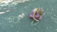 Stock Video Footage of Child Drawing a Mother and a Child Near a House on Asphalt, Children