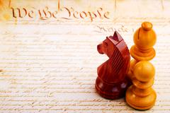 chess and constitution - stock photo