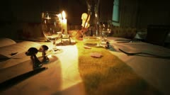 Dinner on Table in Dim Light Stock Footage