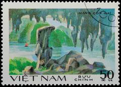 vietnam - circa 1980s:  stamp - sailing boat on sea channel - stock photo