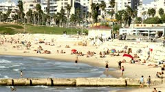 682 people on the beach in stop motion - stock footage