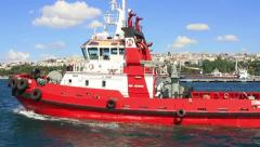 Escort and shiphandling tug boat Stock Footage