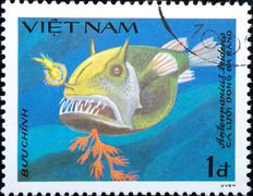 Vietnam - circa 1984: stamp animal fish Stock Photos