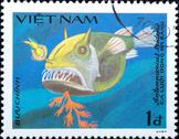 Stock Photo of vietnam - circa 1984: stamp animal fish
