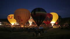 Snowmass Hot Air Balloon Festival Night Glow Stock Footage