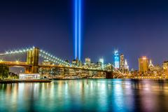 Manhattan Skyline from the East River on 911 - stock photo