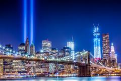 Manhattan Skyline with Freedom Tower on 911 - stock photo