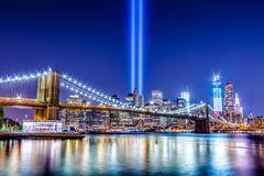 World Trade Center Memorial Lights in New York City - stock photo