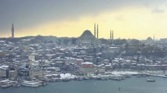 Winter in Istanbul. In the distance Suleymaniye Mosque in snow Stock Footage