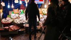 Fish market night Stock Footage