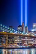 911 Memorial Lights in New York City - stock photo