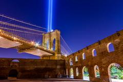 911 Memorial Lights from Brooklyn, New York City - stock photo