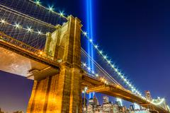 Brooklyn Bridge and 911 Memorial Lights in NYC - stock photo