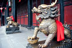 Copper lions, china Stock Photos