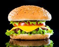 Tasty and appetizing hamburger on a dark Stock Photos