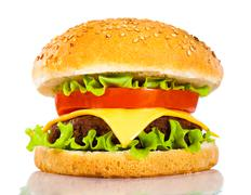 tasty and appetizing hamburger on a white - stock photo
